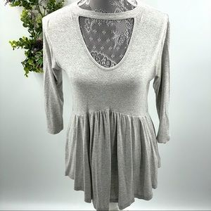Staccato | Light Grey Choker Tunic Top, size S
